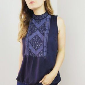 Anthropologie Navy Embroidered Tank Top